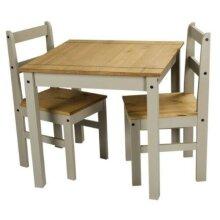 Corona Dining Table & 2 Chairs Grey Wax Rio Solid Pine Furniture