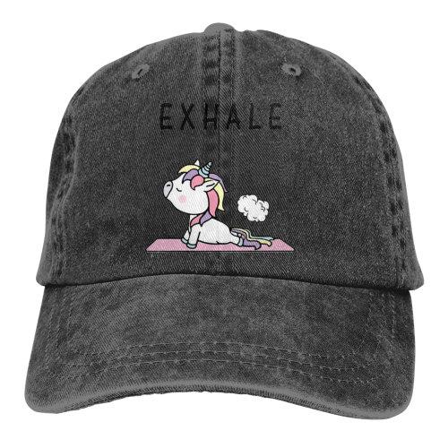 Exhale Unicorn Denim Baseball Caps