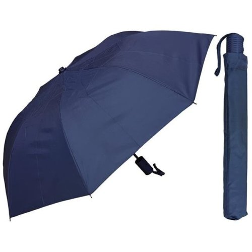 RainStoppers W1510NAVY 42 in. Auto Open Navy Deluxe Umbrella with Rubberized Handle, 6 Piece