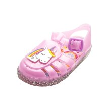 Unicorn Girls Pink Jelly Sandals with Glitter Soles