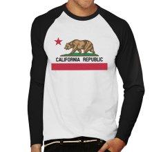 California Republic State Bear Flag Men's Baseball Long Sleeved T-Shirt