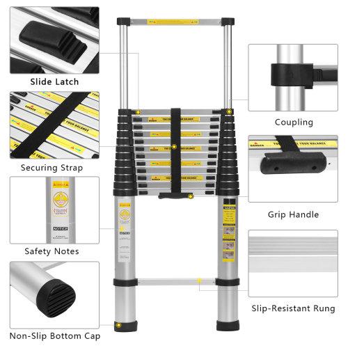 5M Multi-Purpose Aluminium Telescopic Ladder Extension Extendable Ladder EN131