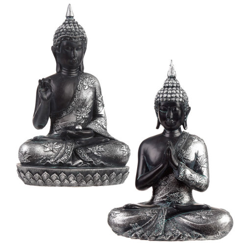 Decorative Black  and  Silver Thai Buddha - Enlightenment