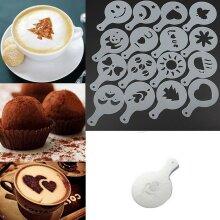 Set of 16 Barista Cappuccino Chocolate Stencil Templates Coffee Duster