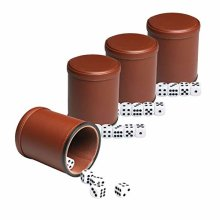 Leather Dice Cup Set Felt Lining Quiet Shaker with 5 Dot Dices for Farkle Yahtzee Games4 Pack (Brown)