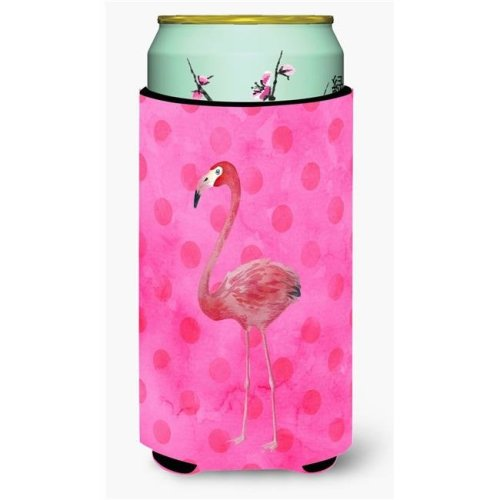 Flamingo Pink Polkadot Tall Boy Beverage Insulator Hugger