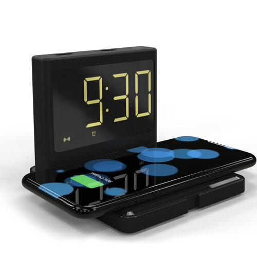 LED Digital Clock Fast Wireless Charger for iPhone/Samsung ,Digital LED Clock for Bedroom -Black