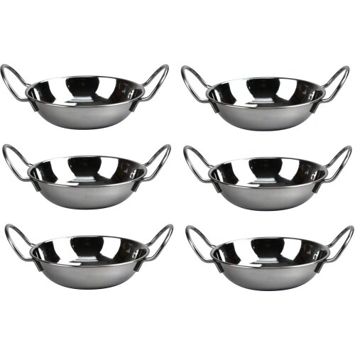 SET OF 6 STAINLESS STEEL 17CM BALTI DISHES INDIAN SERVING DISHES CURRY