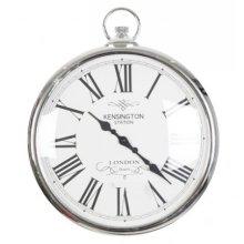 Silver Pocket Watch Clock Kensignton Station Large Wall Clock 42cm