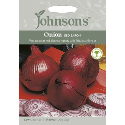 Johnsons Seeds - Pictorial Pack - Vegetable - Onion Red Baron - 175 Seeds