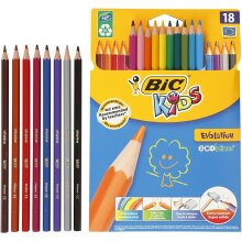 BIC Kids Evolution ECOlutions Colouring Pencils - Assorted Colours, Cardboard Wallet of 18