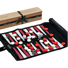Jaques of London Backgammon Set - PREMIUM Genuine Leather Backgammon Set - Travel Backgammon Set Inc. Gift Packing Quality Games Since 1795