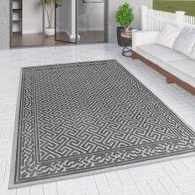 Outdoor Rug Grey Large XL Small for Garden Patios Gazebo Decking Soft Woven Greek Key Geometric Mat