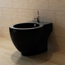 vidaXL Bidet Stand Black Ceramic Round Bathroom Toilet Washing Sink Fixture