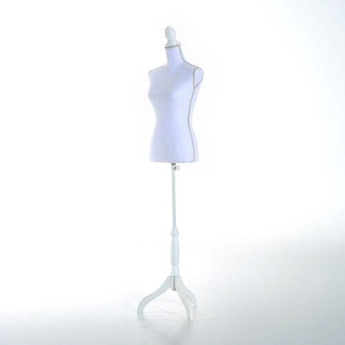 HOMCOM White Female Mannequin Torso Dress Display Tripod Stand Clothing Modern