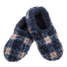Snoozies! Blue Patterned Boucle Mens Small Size 6-7 Super Soft Non Slip