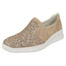 Ladies Rieker Glitter Detailed Slip On Shoes 581T4