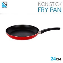 Stainless Steel Non Stick Frying Pan Round Frypan Red 24 cm