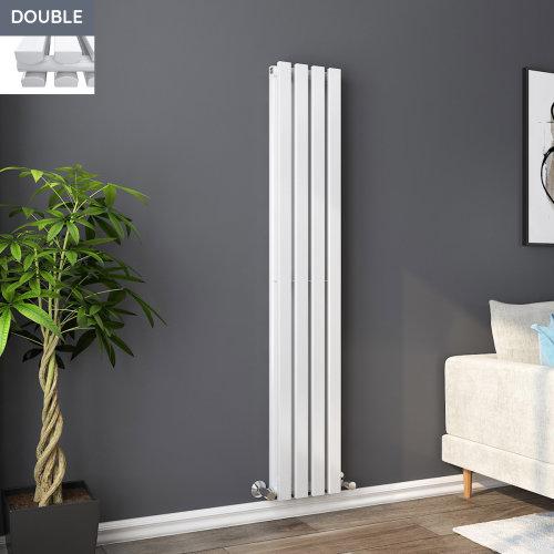 Lulea 1600 x 270mm White Double Rectangular Panel Vertical Radiator