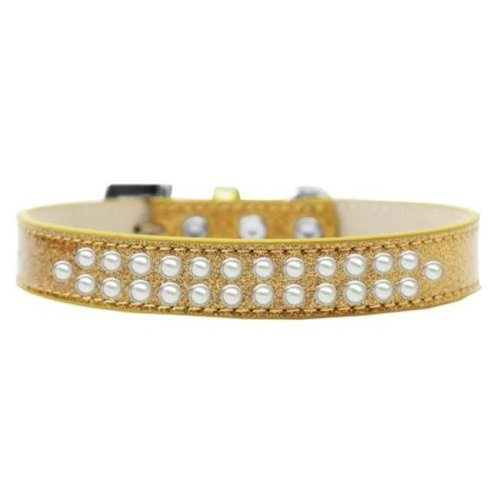 Mirage Pet Products614-03 GD-18 Two Row Pearl Dog Collar, Gold Ice Cream - Size 18