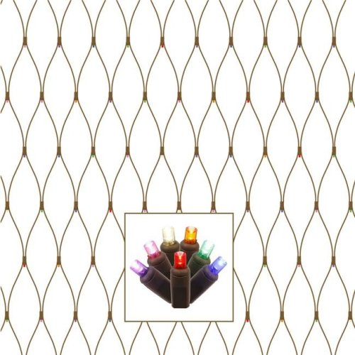 Vickerman X4B2810 Brown Wire Wide Angle Net Light Set with Multi-Colored LED Lights - 2 x 8 ft.