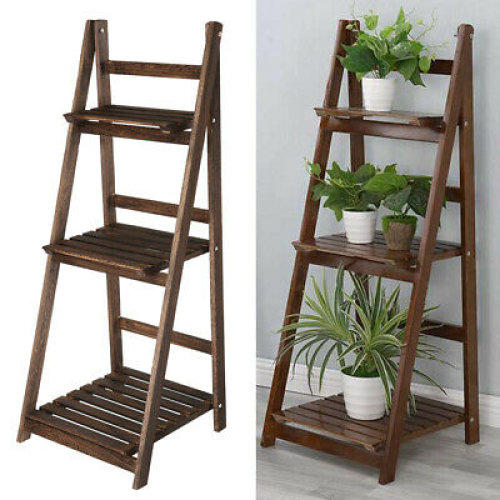 Folding 3 Tier Wooden Ladder Plant Flower Display Stand Shelf Storage