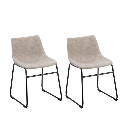 Set of 2 Fabric Dining Chairs Beige BATAVIA