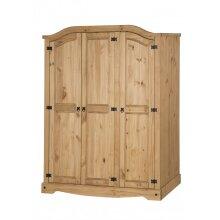 Corona 3 Door Arch Top Wardrobe Bedroom Furniture Solid Pine