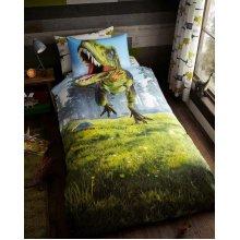 DINOSAUR DUVET COVER SET T-REX KIDS BOYS SINGLE BED QUILT BEDDING SET Green New