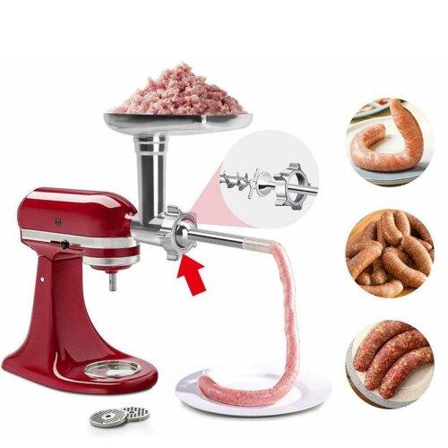 Steel Kitchen Meat Grinders Sausage Stuffer Attachment For Kitchen Aid Stand Mixer Kitchen Appliances Kitchen Dining