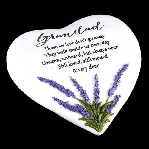 """""""Thoughts of You"""" Lavender Stone Heart Memorial Plaque - Grandad"""