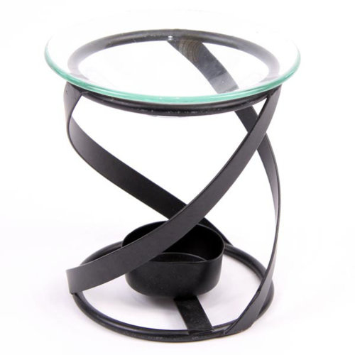 Simple Metal Spiral Design Oil Burner with Glass Dish