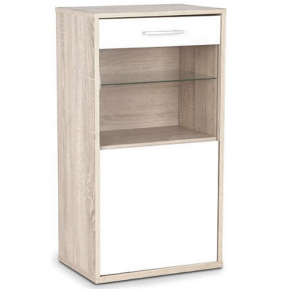 Contemporary Wall Floor Storage Cabinet With Glass Door And