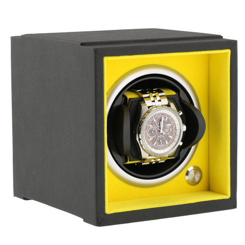 Watch Winder Smaller Wrist Sizes Soft Touch  Yellow Inner by Aevitas