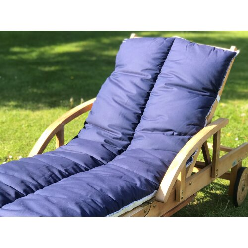Sun Lounger Topper Cushion Pad | 60cm x 190cm - Navy Blue