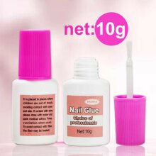 NAIL GLUE SUPER STRONG FALSE CLEAR 10 GRAM WITH BRUSH ON ART TIPS