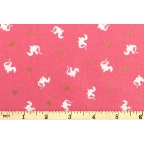 Fat Quarter Baby Dragon Magic Pink 100% Cotton Quilting Fabric