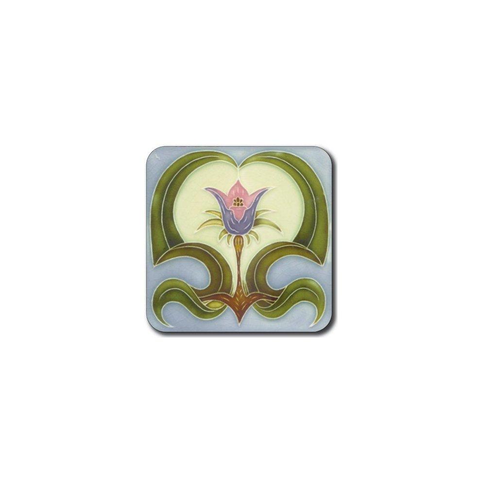 Castle Melamine Art Nouveau Tiles Coasters Set of 6 Square