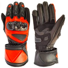 Warrior Premium Leather Motorbike Motorcycle Racing Riding Gloves-Black & Red-M (Small)