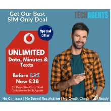 Vodafone SIM Only - Unlimited Data, Calls & Texts - 30 Days Contract