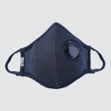 (M(18cm)) SIELD Adult Face Mask - BLACK 95% Viral Bacterial Filtration   Valved