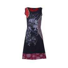 Ladies Summer Sleeveless Dress with flower Pattern Print and Embroidery
