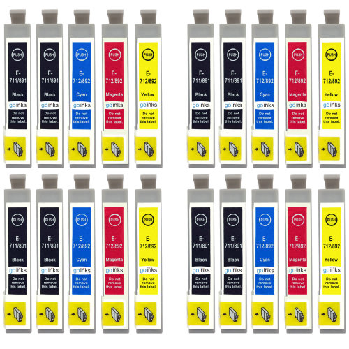 4 Go Inks Set of 4 + extra Black Ink Cartridges to replace Epson T0715+711 Compatible / non-OEM for Epson Stylus Printers (20 Inks)