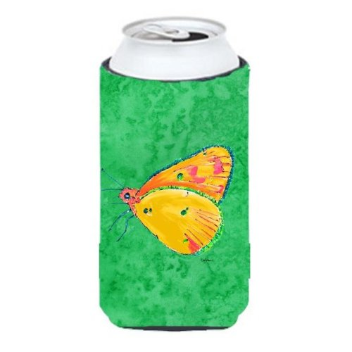 Butterfly Orange On Green Tall Boy bottle sleeve Hugger - 22 To 24 oz.