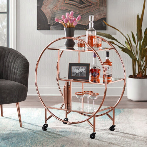 (Rose Gold) Round Bar Trolley Clear Glass Tea Wine Drinks Holder Shelf Rack Cart