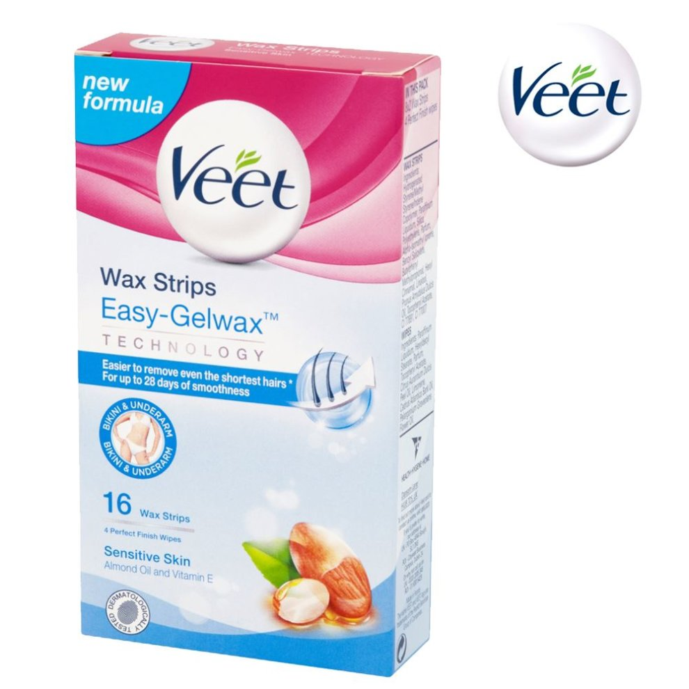 Veet Easy Gelwax Bikini Underarm 16 Hair Removal Wax Strips For
