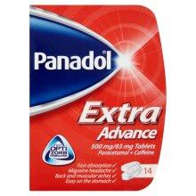 "Panadol Extra Advance 14 Tablets Paracetamol 500mg+Caffeine65mg Max 2"""