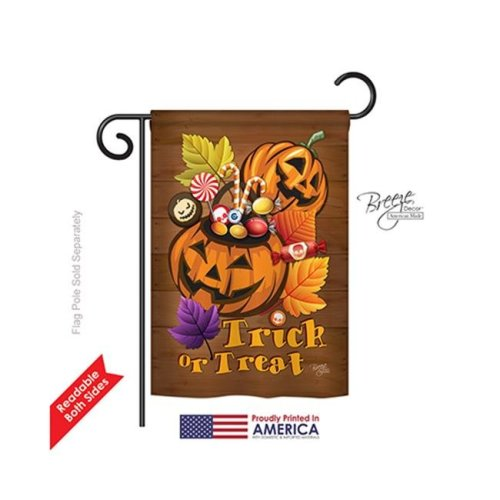 Breeze Decor 62003 Halloween Candy Pumpkins 2-Sided Impression Garden Flag - 13 x 18.5 in.