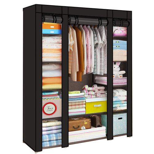 (Black) Canvas Wardrobe | Fabric Hanging Clothes Storage