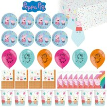 47 Piece ! Peppa Pig Kids Party Tableware Set Cups Plates Napkins Bags Balloons